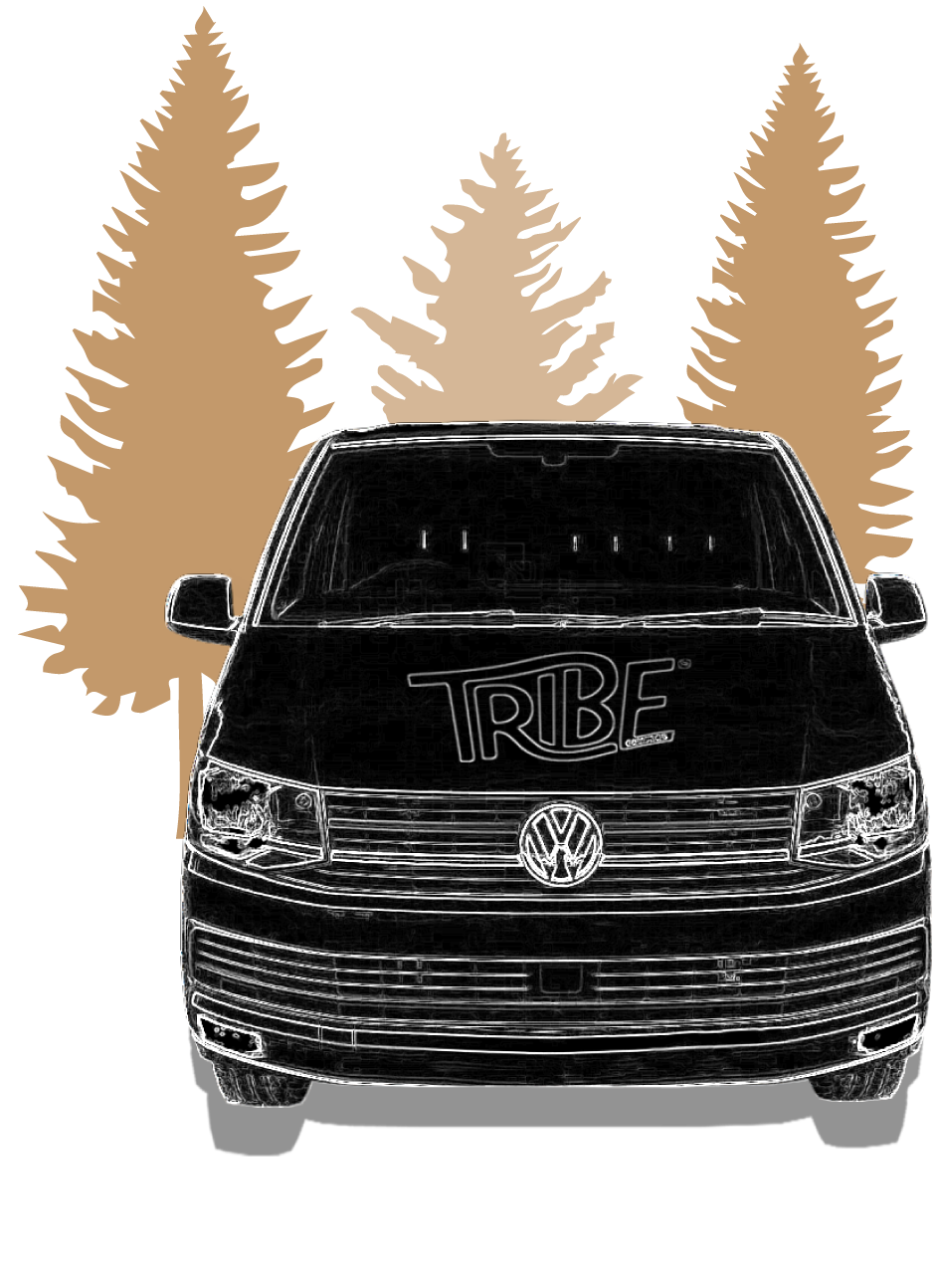 A graphical image of a T6 VW Camper, with the Tribe Campers logo on the bonnet.